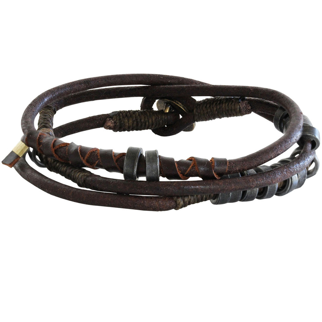 Wakami Fire Leather Wrap Bracelet, 7 1/2