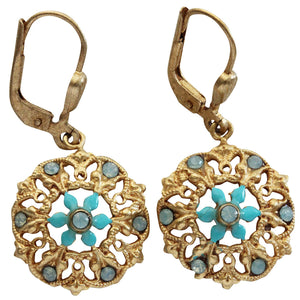 Catherine Popesco 14k Gold Plated Enamel Floret Earrings, 3119G Turquoise Blue