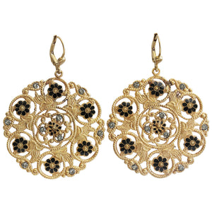 Catherine Popesco 14k Gold Plated Enamel Flower Medallion Earrings, 3094G Black