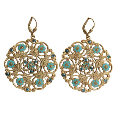 Catherine Popesco 14k Gold Plated Enamel Flower Medallion Earrings, 3094G Blue