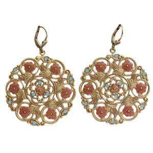 Catherine Popesco 14k Gold Plated Enamel Flower Medallion Earrings, 3094G Coral Pacific Opal