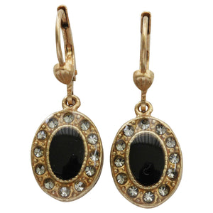 Catherine Popesco 14k Gold Plated Enamel Oval Petite Earrings, 3089G Black