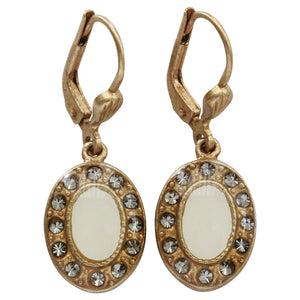 Catherine Popesco 14k Gold Plated Enamel Oval Petite Earrings, 3089G Cream