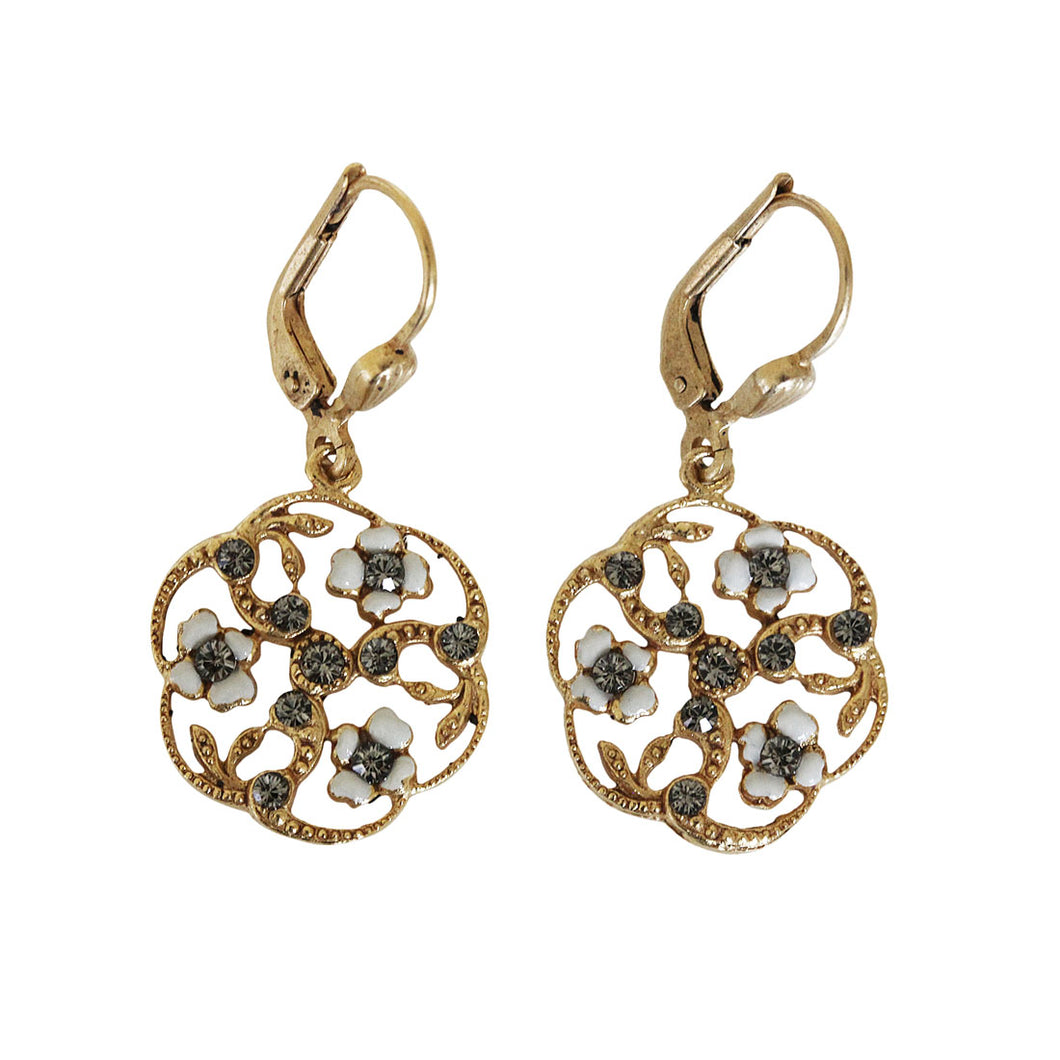 Catherine Popesco 14k Gold Plated Enamel Round Floral Petite Earrings, 3154G White BD