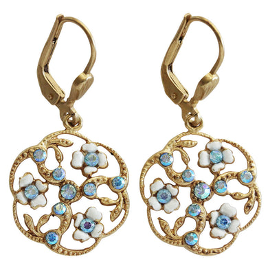 Catherine Popesco 14k Gold Plated Enamel Round Floral Petite Earrings, 3154G White Blue AB