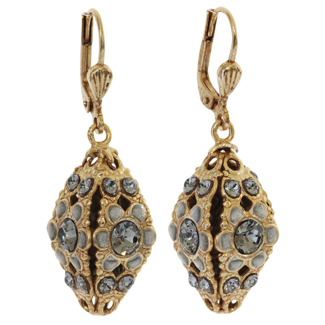Catherine Popesco 14k Gold Plated Enamel Flower Cone Shape Swarovski Earrings, 9588G Gray
