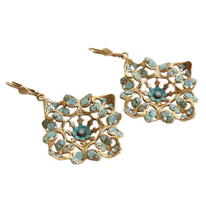 Catherine Popesco 14k Gold Plated Enamel Flower Square Filigree Swarovski Earrings, 9623G Pacific Blue