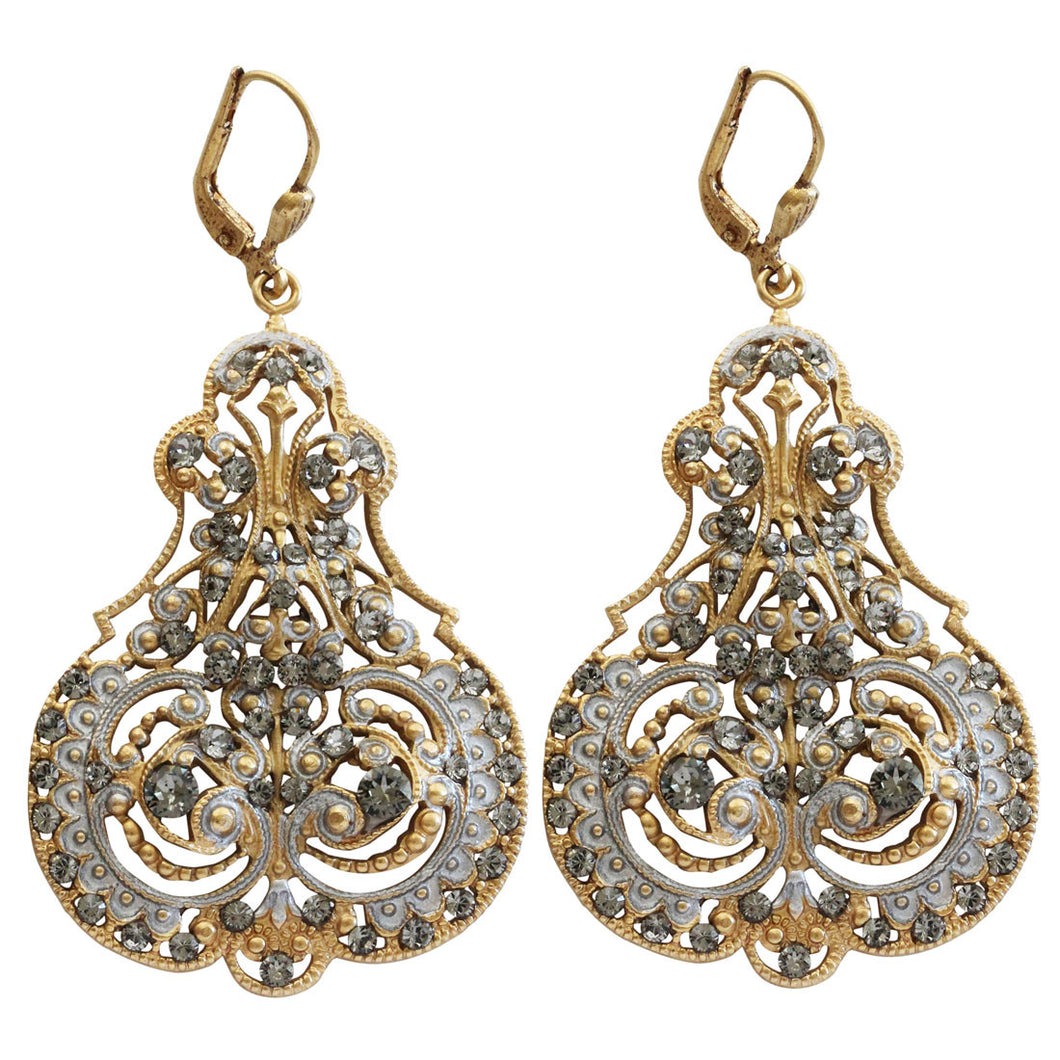 Catherine Popesco 14k Gold Plated Enamel Contessa Ornate Scroll Statement Chandelier Earrings, 3012G Gray