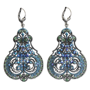 Catherine Popesco Sterling Silver Plated Enamel Contessa Ornate Scroll Statement Chandelier Earrings, 3012 Blue Iridescent Green