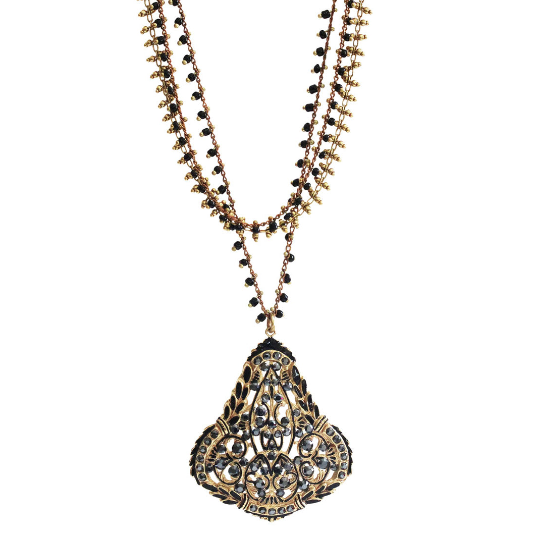 Catherine Popesco 14k Gold Plated Black Enamel Chandelier Pendant Multi Strand Swarovski Crystal Necklace, 1286G