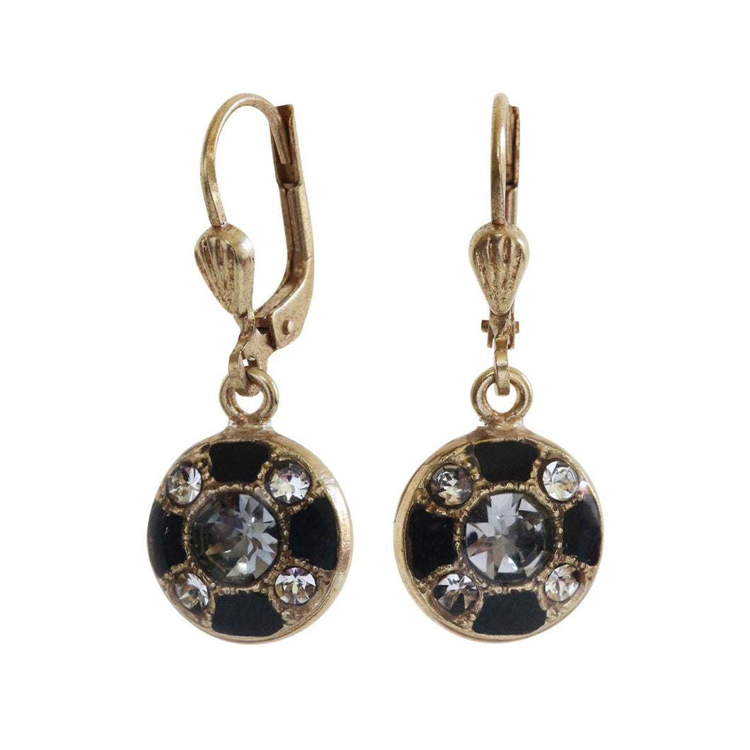 Catherine Popesco 14k Gold Plated Enamel Petite Round Swarovski Earrings, 3020G Black