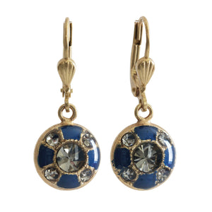 Catherine Popesco 14k Gold Plated Enamel Petite Round Swarovski Earrings, 3020G Navy Blue