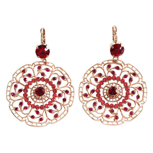 "Mariana ""Firefly"" Rose Gold Plated Filigree Flower Floral Large Statement Swarovski Crystal Earrings, 1210 2140rg"