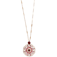 "Mariana ""Firefly"" Rose Gold Plated Filigree Flower Floral Large Statement Swarovski Crystal Pendant Necklace, Red 5210 2140rg"