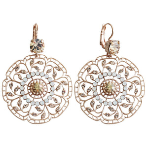 "Mariana ""Kalahari"" Rose Gold Plated Filigree Flower Floral Large Statement Swarovski Crystal Earrings, 1210 1078mr"