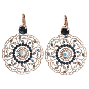 "Mariana ""Mood Indigo"" Rose Gold Plated Filigree Flower Floral Large Statement Swarovski Crystal Earrings, 1210 1069mr"