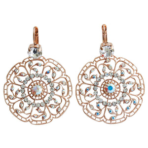 "Mariana ""On A Clear Day"" Rose Gold Plated Filigree Flower Floral Large Statement Swarovski Crystal Earrings, 1210 0011ABmr"