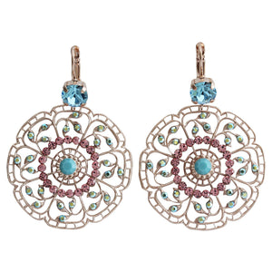 "Mariana ""Summer Fun"" Rose Gold Plated Filigree Flower Floral Large Statement Swarovski Crystal Earrings, 1210 3711mr"