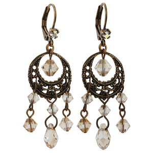 Liz Palacios Antiqued Brass Filigree Hoop Dangle Chandelier Swarovski Earrings, BDE-25 Antique Neutrals