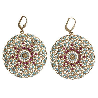Catherine Popesco 14k Gold Plated Filigree Round Large Lace Medallion Earrings, 9702BG Fuchsia Turquoise Blue