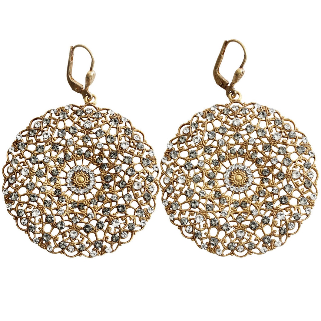 Catherine Popesco 14k Gold Plated Filigree Round Large Lace Medallion Earrings, 9702BG Clear Gray