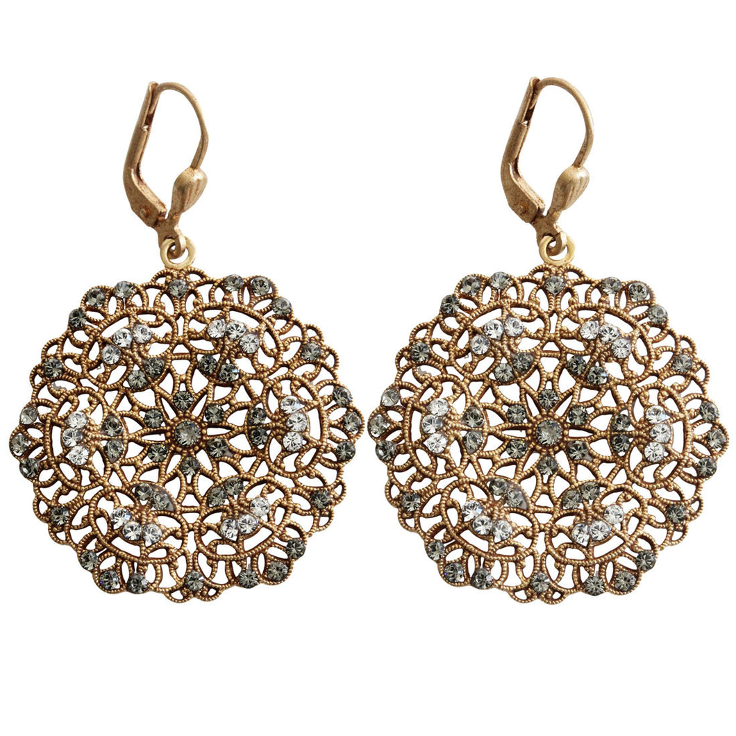 Catherine Popesco 14k Gold Plated Filigree Lace Medallion Earrings, 9702G Clear Gray