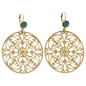 Liz Palacios 14k Gold Plated Hoop Filigree Floral Swarovski Earrings, MAE-9 Pacific Opal