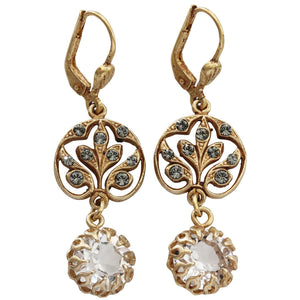 Catherine Popesco 14k Gold Plated Filigree Leaf Swarovski Crystal Earrings, 4613G Clear