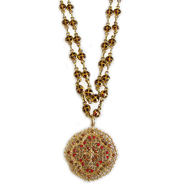 Catherine Popesco 14k Gold Plated Filigree Medallion Beaded Chain Necklace, 20.5