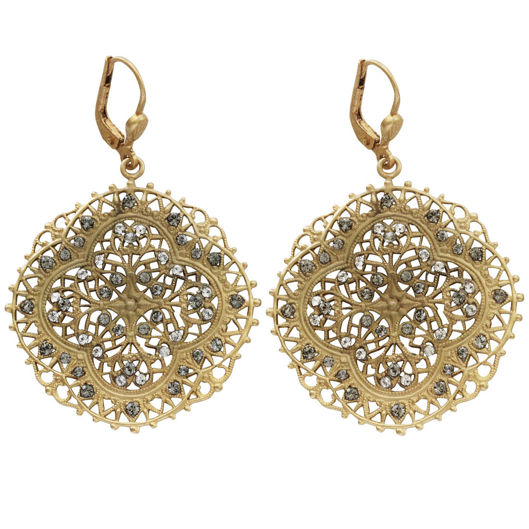 Catherine Popesco 14k Gold Plated Filigree Medallion Crystal Earrings, 4389G Clear Grey