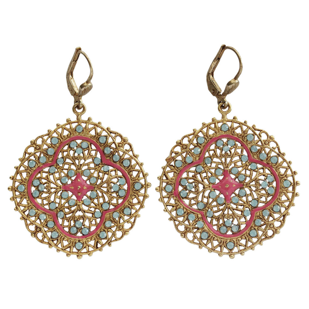 Catherine Popesco Enamel 14k Gold Plated Filigree Medallion Swarovski Crystal Earrings, 3018G Pink Coral Pacific Blue