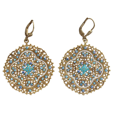 Catherine Popesco Enamel 14k Gold Plated Filigree Medallion Swarovski Crystal Earrings, 3018G Blue White
