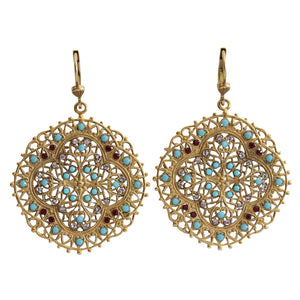 Catherine Popesco 14k Gold Plated Filigree Medallion Crystal Earrings, 4389G Blue Red
