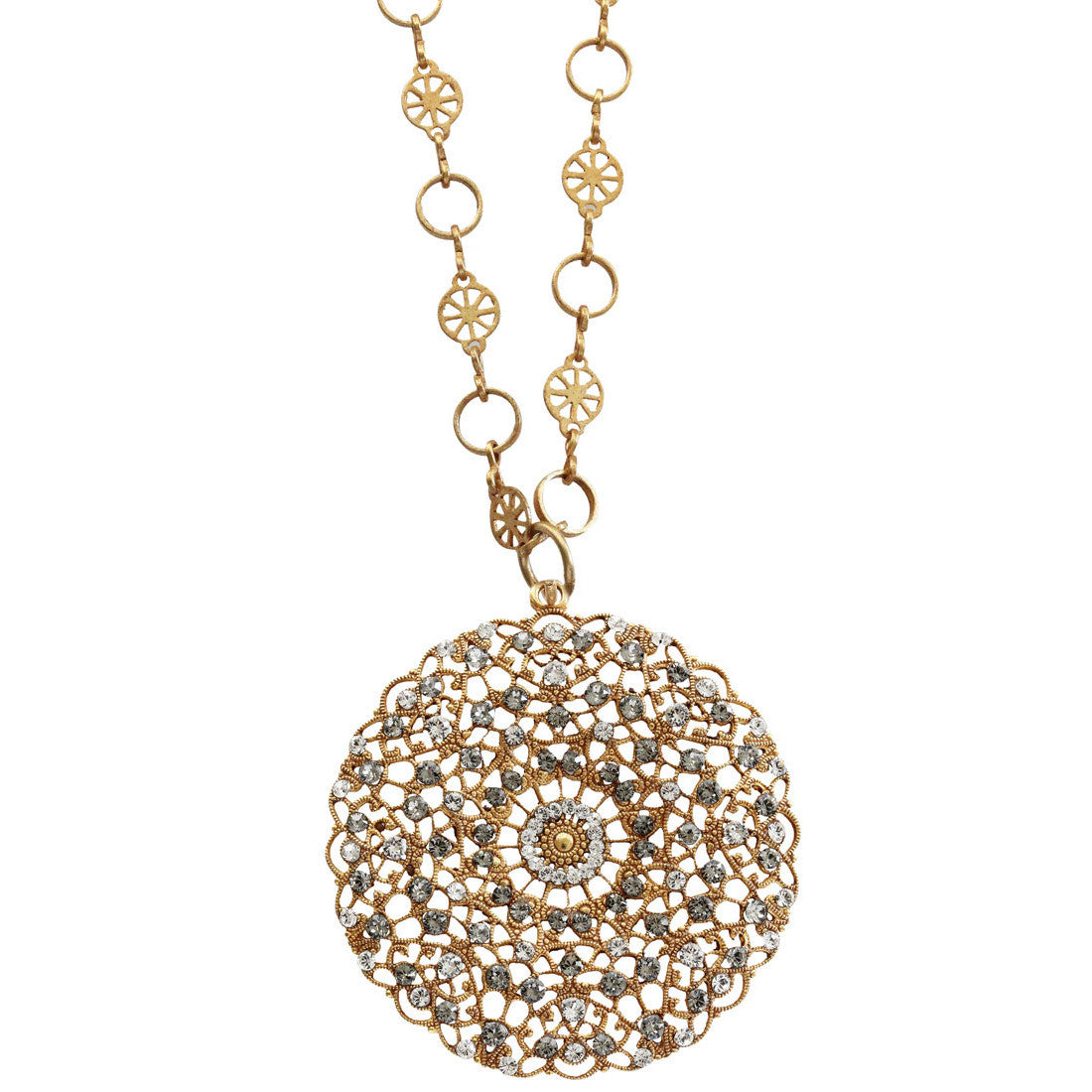 "Catherine Popesco 14k Gold Plated Filigree Round Large Lace Medallion Necklace, 16"" 1120BG Clear Gray"