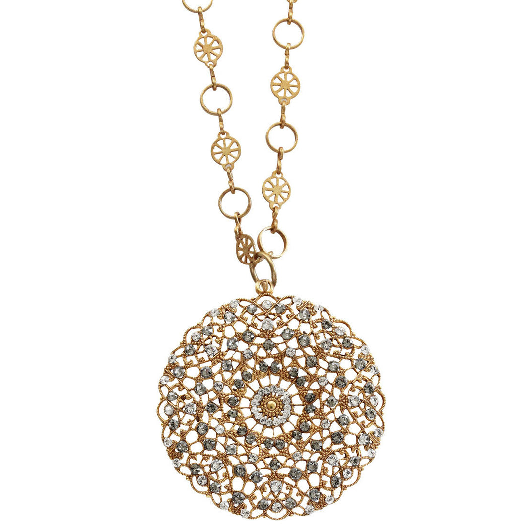 Catherine Popesco 14k Gold Plated Filigree Round Large Lace Medallion Necklace, 18