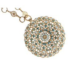 "Catherine Popesco 14k Gold Plated Filigree Round Large Lace Medallion Necklace, 18"" 1120BG Pacific Blue"