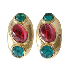 Kenneth Jay Lane Goldtone Simulated Emerald Green Ruby Red Cabochon Oval Clip On Earrings 1662EER