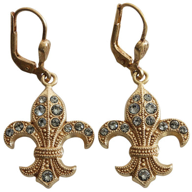 Catherine Popesco 14k Gold Plated Fleur De Lis Swarovski Crystal Earrings, 9001BG Grey
