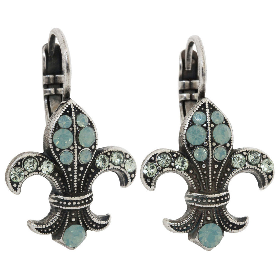 Mariana Silver Plated Fleur De Lis Swarovski Crystal Earrings, Pacific Blue 1108/1 390