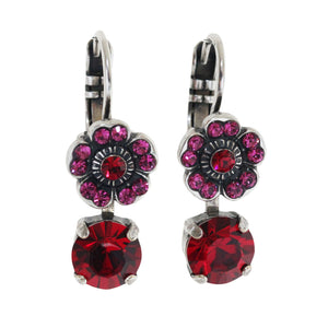 "Mariana ""Firefly"" Silver Plated Floret Drop Small Swarovski Crystal Earrings, Red Fuchsia 1211 2140"