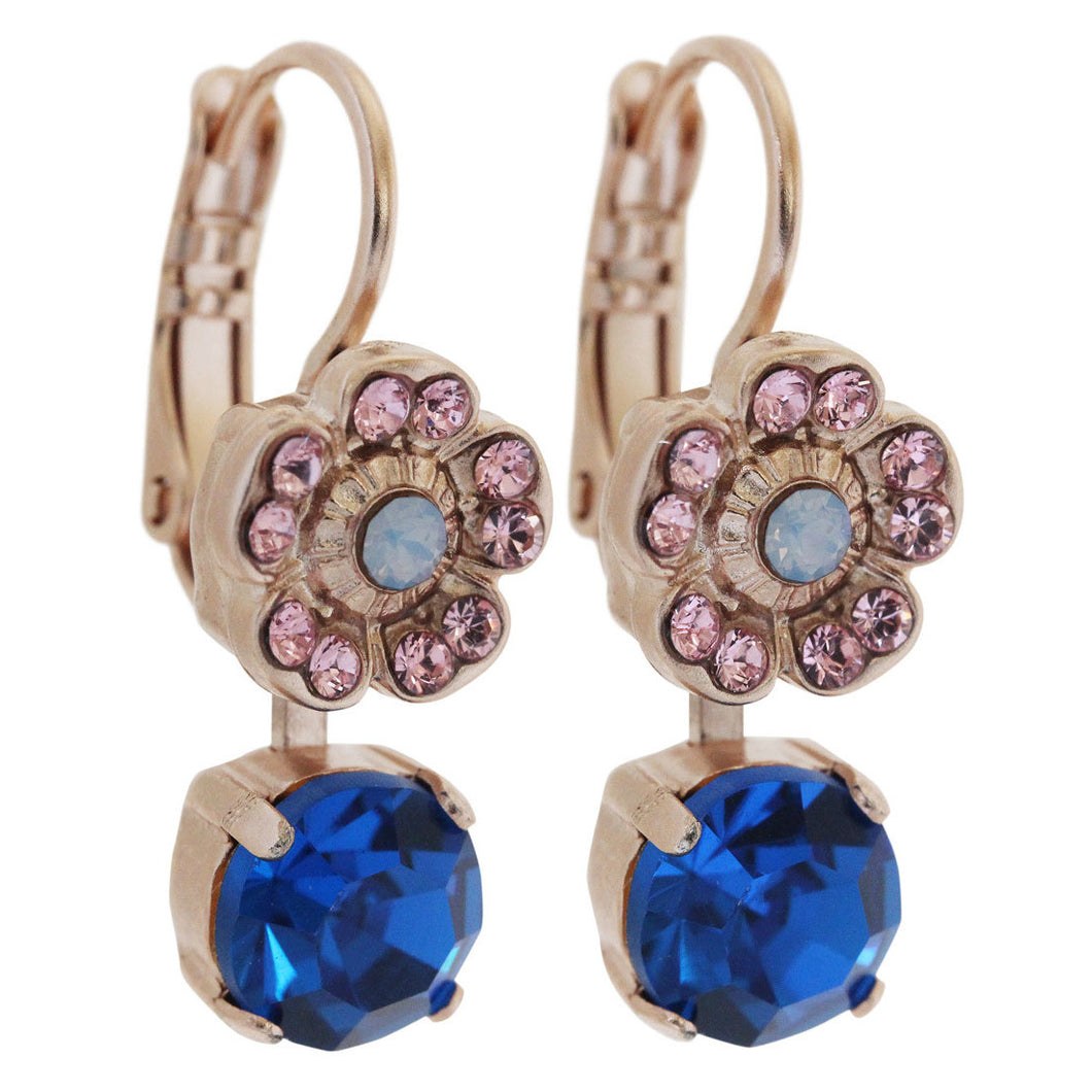 Mariana Kiss from a Rose Rose Gold Plated Floret Drop Small Swarovski Crystal Earrings, 1211 1068mr
