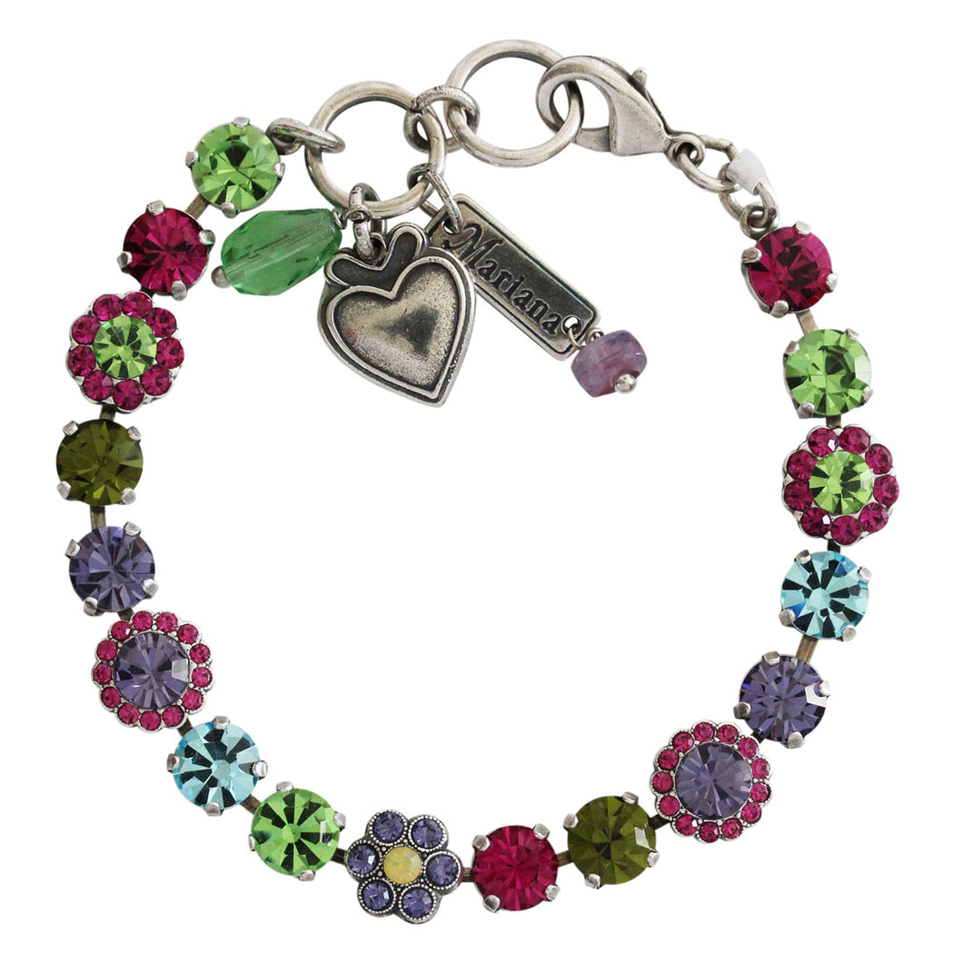 Mariana Cuba Silver Plated Petite Floral Flowers Mosaic Swarovski Crystal Tennis Bracelet, Multi Color 4173/3 333-1