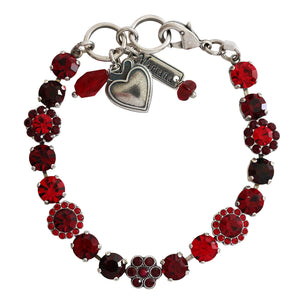 "Mariana ""Lady in Red"" Silver Plated Petite Floral Flowers Mosaic Swarovski Crystal Tennis Bracelet, 4173/3 1070"
