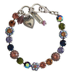 Mariana Penelope Silver Plated Petite Floral Flowers Mosaic Swarovski Crystal Tennis Bracelet, Multi Color 4173/3 1089