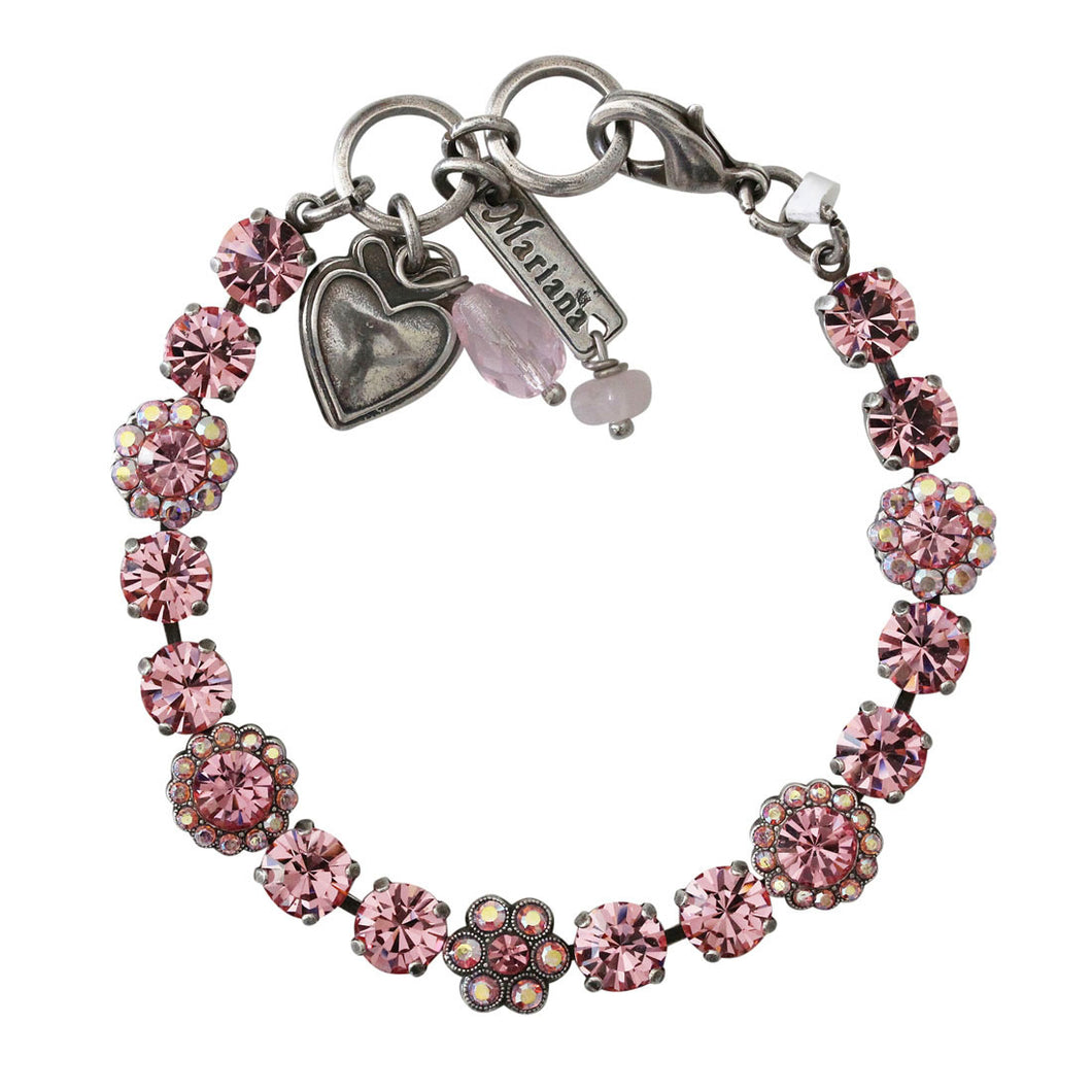Mariana Pretty in Pink Silver Plated Petite Floral Flowers Mosaic Swarovski Crystal Tennis Bracelet, 7