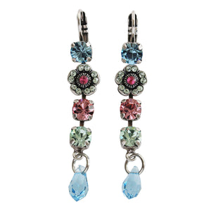 "Mariana ""Spring Flowers"" Silver Plated Floral Dangle Drop Crystal Swarovski Earrings, 1504/1 2141"
