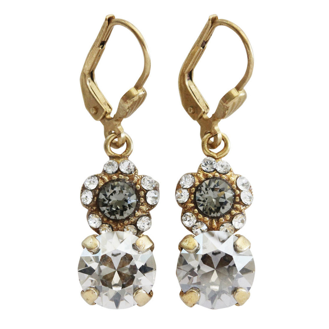 Catherine Popesco 14k Gold Plated Flower Floral Drop Swarovski Crystal Earrings, 9563G Shade