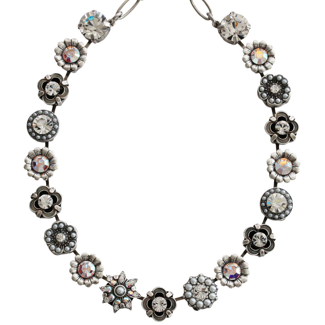 Mariana Silver Plated Flower Garden Swarovski Crystal Necklace, 17