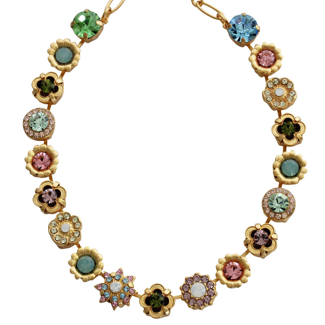 Mariana Gold Plated Flower Garden Swarovski Crystal Necklace, 17