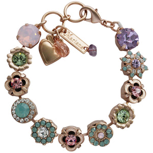 "Mariana Rose Gold Plated Flower Garden Swarovski Crystal Bracelet, 7"" Pina Colada 4072 1063mr"